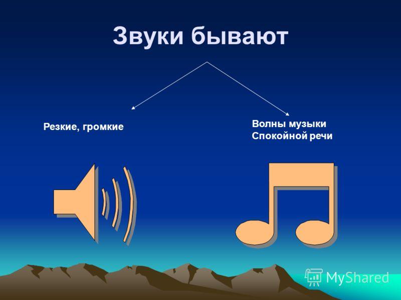 Звуки бывают Волны музыки Спокойной речи Резкие, громкие