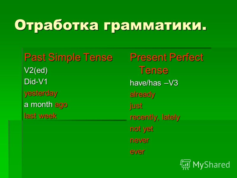 Отработка грамматики. Past Simple Tense V2(ed)Did-V1yesterday a month ago last week Present Perfect Tense have/has –V3 alreadyjust recently, lately not yet neverever
