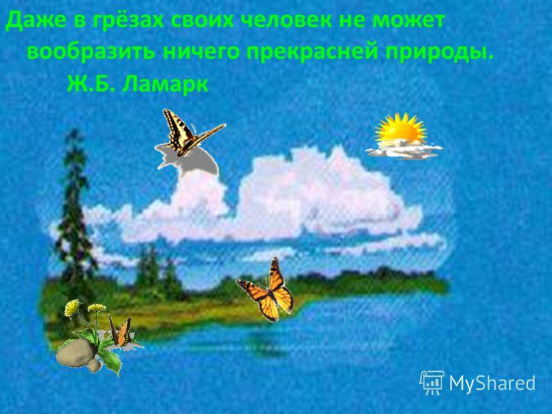 Даже в грёзах своих человек не может вообразить ничего прекрасней природы. Ж.Б. Ламарк