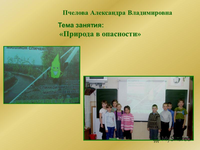 Пчелова Александра Владимировна Тема занятия: «Природа в опасности»
