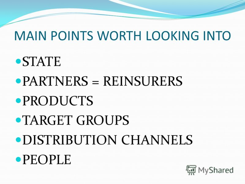 MAIN POINTS WORTH LOOKING INTO STATE PARTNERS = REINSURERS PRODUCTS TARGET GROUPS DISTRIBUTION CHANNELS PEOPLE