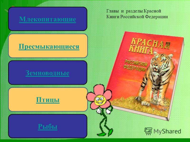 Пресмыкающиеся Земноводные Птицы Млекопитающие Рыбы Главы и разделы Красной Книги Российской Федерации