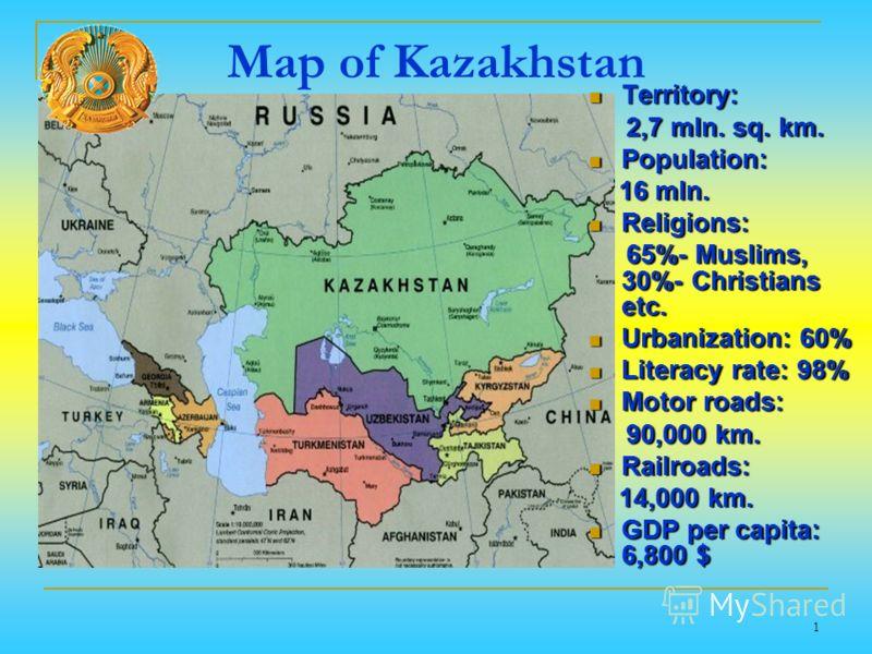 Map of Kazakhstan Territory: Territory: 2,7 mln. sq. km. 2,7 mln. sq. km. Population: Population: 16 mln. 16 mln. Religions: Religions: 65%- Muslims, 30%- Christians etc. 65%- Muslims, 30%- Christians etc. Urbanization: 60% Urbanization: 60% Literacy