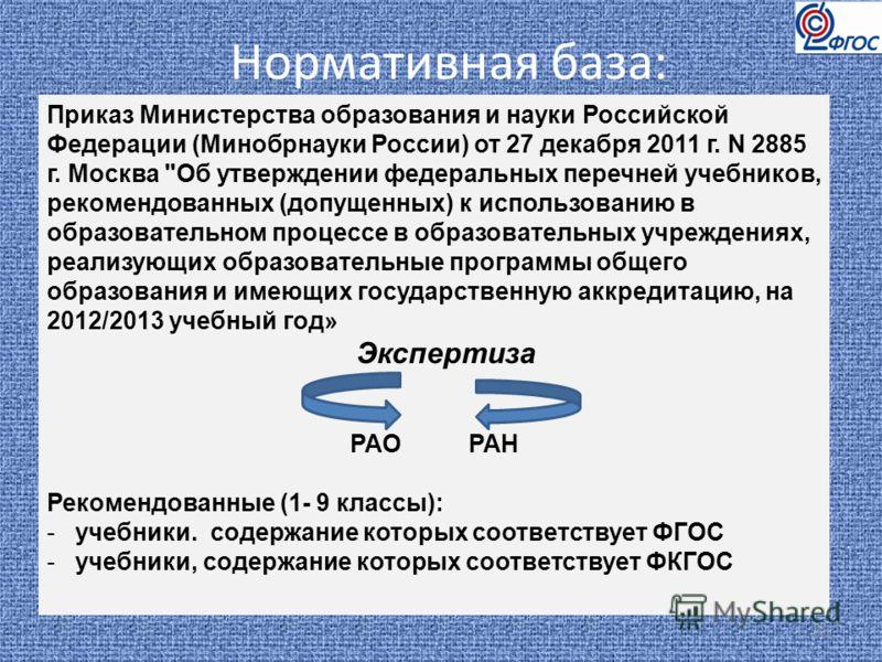 Нормативная база: 23 Приказ Министерства образования и науки Российской Федерации (Минобрнауки России) от 27 декабря 2011 г. N 2885 г. Москва