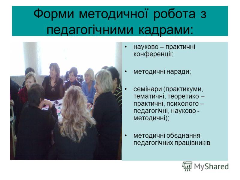 Форми методичної робота з педагогічними кадрами: науково – практичні конференції; методичні наради; семінари (практикуми, тематичні, теоретико – практ