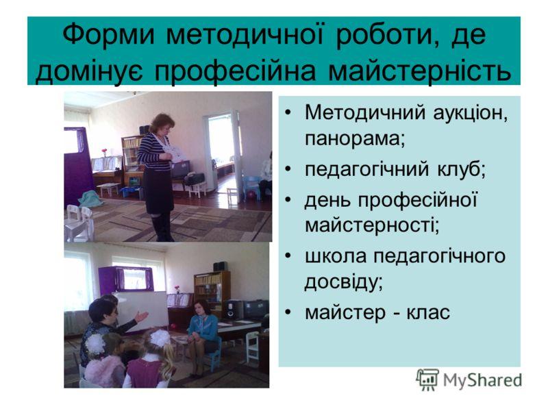 Форми методичної роботи, де домінує професійна майстерність Методичний аукціон, панорама; педагогічний <a href='http://www.myshared.ru/slide/287195/'
