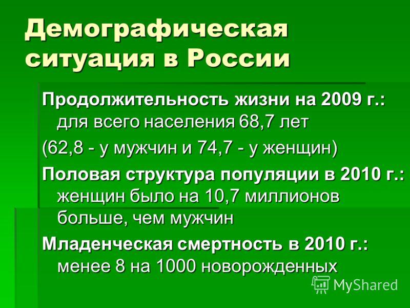 Демографическая ситуация в России Продолжительность жизни на 2009 г.: для всего населения 68,7 лет (62,8 - у мужчин и 74,7 - у женщин) Половая структура популяции в 2010 г.: женщин было на 10,7 миллионов больше, чем мужчин Младенческая смертность в 2