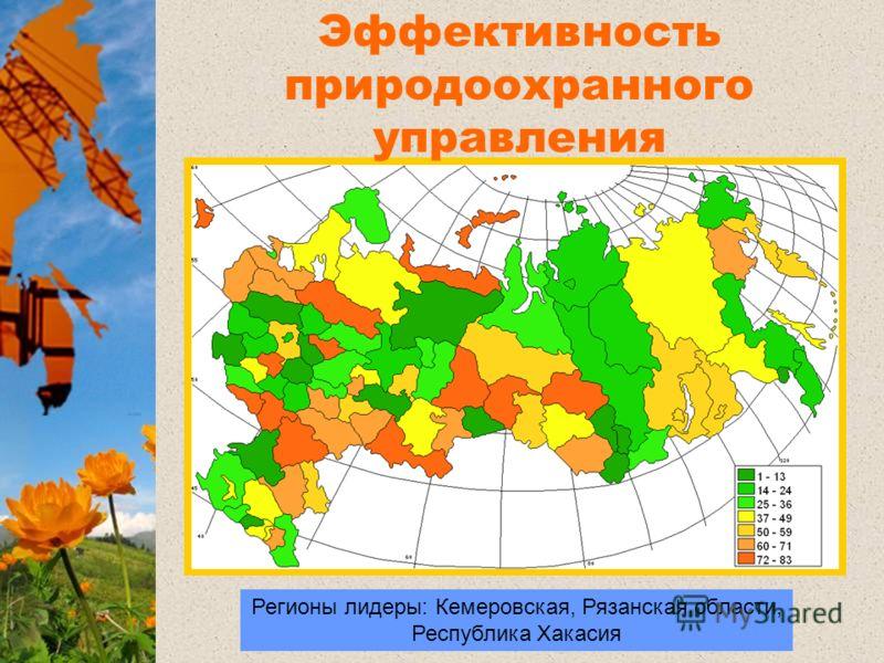 Регионы лидеры: Кемеровская, Рязанская области, Республика Хакасия Регионы лидеры Эффективность природоохранного управления