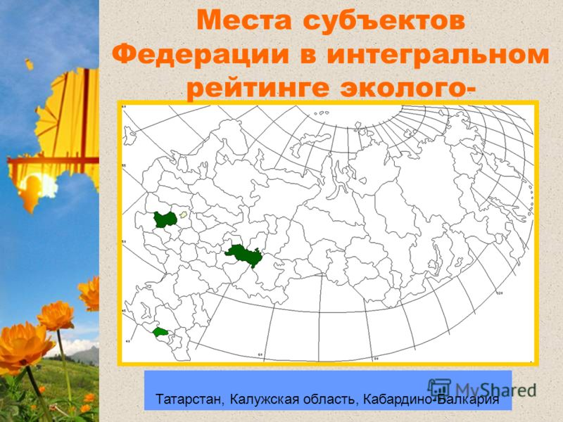 Регионы лидеры: Брянская область, Башкортостан, Татарстан, Калужская область, Кабардино-Балкария Регионы лидеры Места субъектов Федерации в интегральном рейтинге эколого- энергетической эффективности