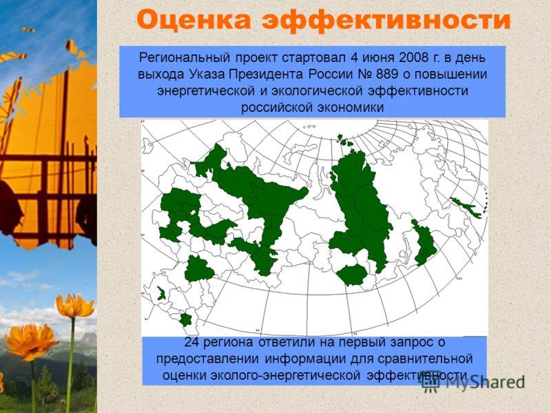 Оценка эффективности регионов 24 региона ответили на первый запрос о предоставлении информации для сравнительной оценки эколого-энергетической эффективности Региональный проект стартовал 4 июня 2008 г. в день выхода Указа Президента России 889 о повы