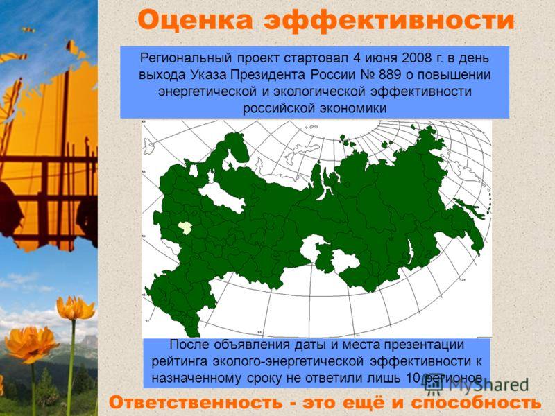Оценка эффективности регионов После объявления даты и места презентации рейтинга эколого-энергетической эффективности к назначенному сроку не ответили лишь 10 регионов Региональный проект стартовал 4 июня 2008 г. в день выхода Указа Президента России