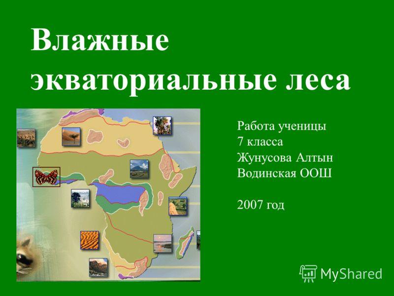 Влажные экваториальные леса Работа ученицы 7 класса Жунусова Алтын Водинская ООШ 2007 год