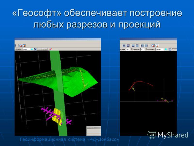«Геософт» обеспечивает построение любых разрезов и проекций Геоинформационная система «4Д-Донбасс»