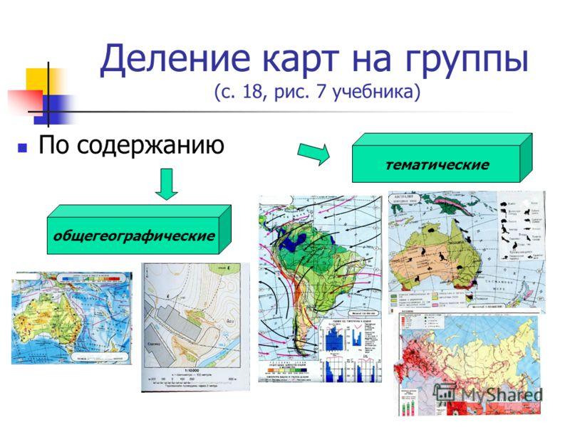Деление карт на группы (с. 18, рис. 7 учебника) По содержанию общегеографические тематические