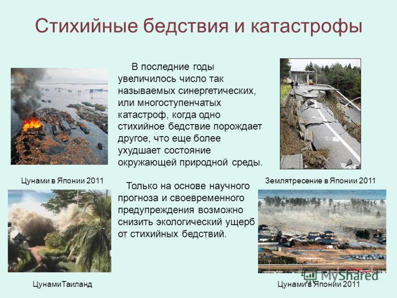 Стихийные бедствия и катастрофы В последние годы увеличилось число так называемых синергетических, или многоступенчатых катастроф, когда одно стихийное бедствие порождает другое, что еще более ухудшает состояние окружающей природной среды. Только на