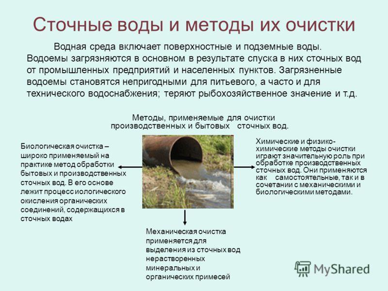 Сточные воды и методы их очистки Водная среда включает поверхностные и подземные воды. Водоемы загрязняются в основном в результате спуска в них сточных вод от промышленных предприятий и населенных пунктов. Загрязненные водоемы становятся непригодным