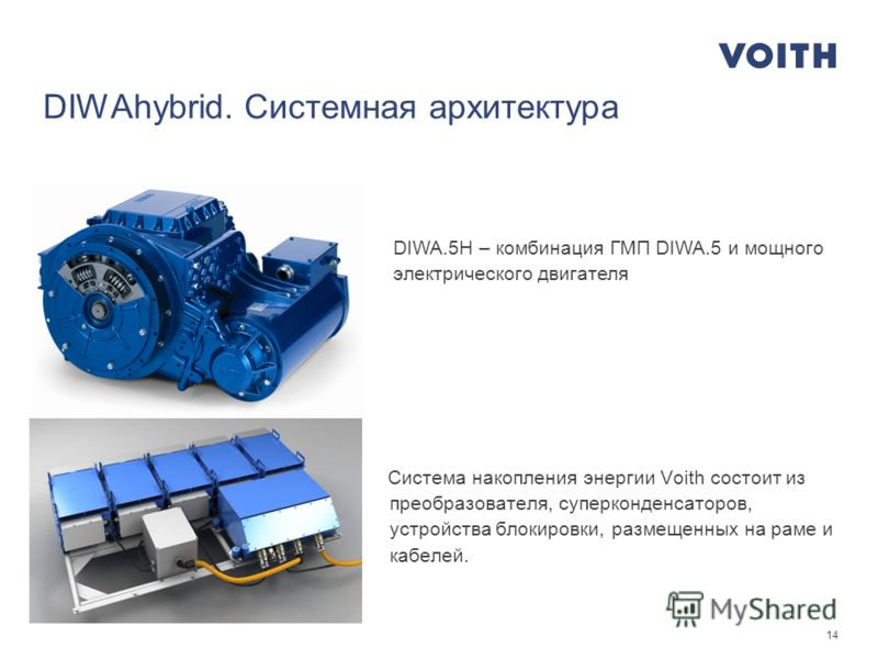 14 DIWAhybrid. Системная архитектура Система накопления энергии Voith состоит из преобразователя, суперконденсаторов, устройства блокировки, размещенных на раме и кабелей. DIWA.5H – комбинация ГМП DIWA.5 и мощного электрического двигателя