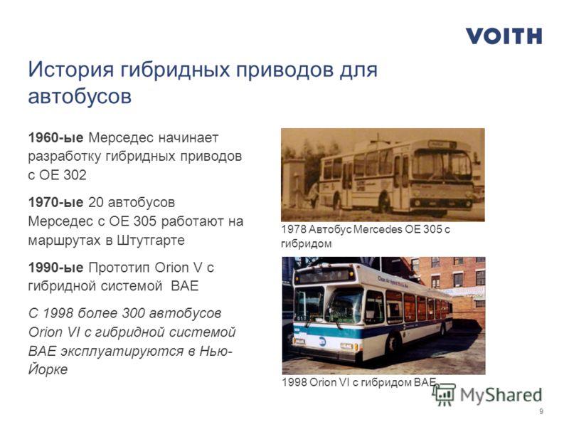 9 История гибридных приводов для автобусов 1960-ые Мерседес начинает разработку гибридных приводов с OE 302 1970-ые 20 автобусов Мерседес с OE 305 работают на маршрутах в Штутгарте 1990-ые Прототип Orion V с гибридной системой BAE С 1998 более 300 ав