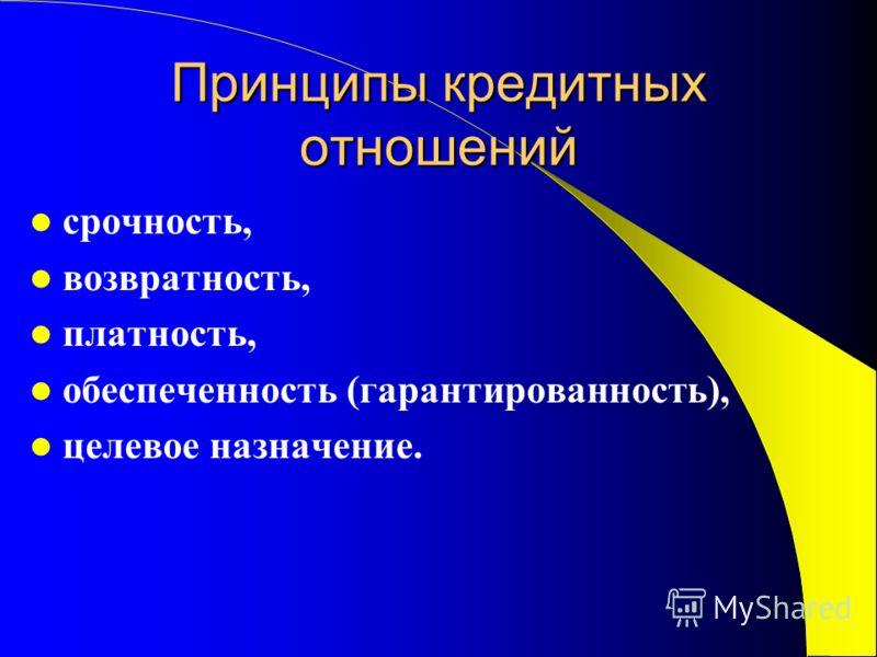 Принципы кредитных отношений срочность, возвратность, платность, обеспеченность (гарантированность), целевое назначение.