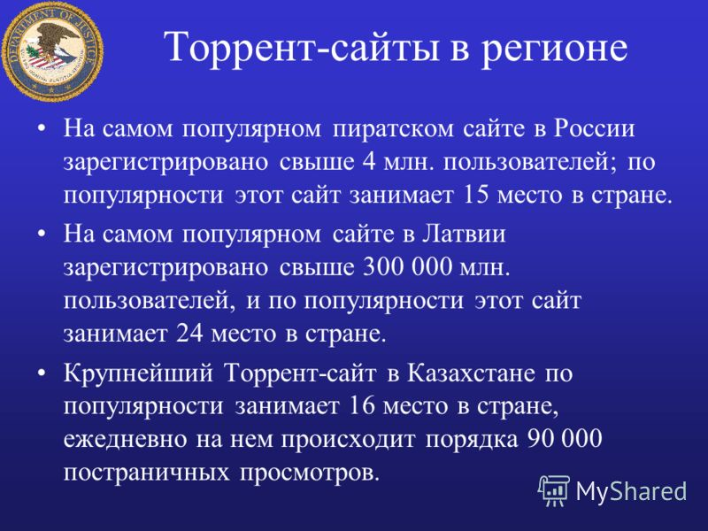 Торрент-сайты в регионе На самом популярном пиратском сайте в России зарегистрировано свыше 4 млн. пользователей; по популярности этот сайт занимает 15 место в стране. На самом популярном сайте в Латвии зарегистрировано свыше 300 000 млн. пользовател