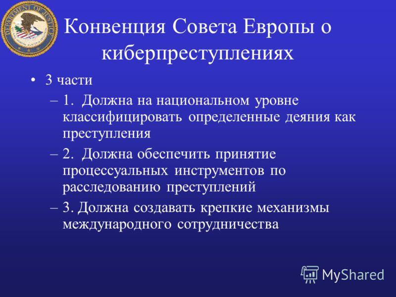 Конвенция Совета Европы о киберпреступлениях 3 части –1. Должна на национальном уровне классифицировать определенные деяния как преступления –2. Должна обеспечить принятие процессуальных инструментов по расследованию преступлений –3. Должна создавать