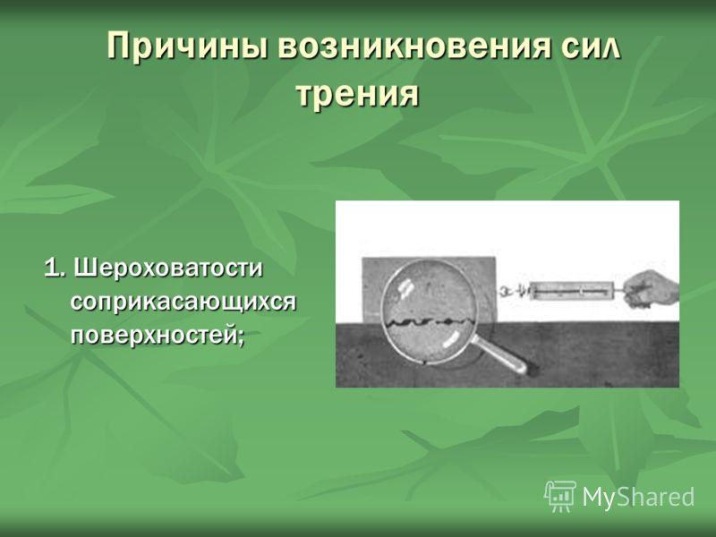 Причины возникновения сил трения Причины возникновения сил трения 1. Шероховатости соприкасающихся поверхностей;