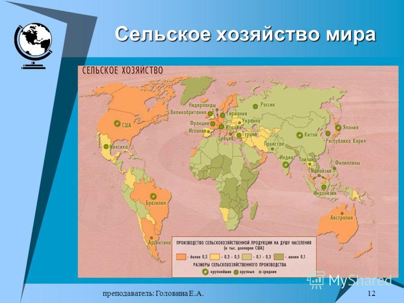 преподаватель: Головина Е.А. 11 Земельные ресурсы: два противоположных процесса Земельные ресурсы Земельные ресурсы – это универсальный вид природных ресурсов, необходимый практически для всех сфер человеческой деятельности. Для промышленности, строи