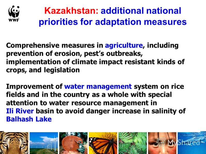 Kazakhstan: additional national priorities for adaptation measures Comprehensive measures in agriculture, including prevention of erosion, pests outbreaks, implementation of climate impact resistant kinds of crops, and legislation Improvement of wate
