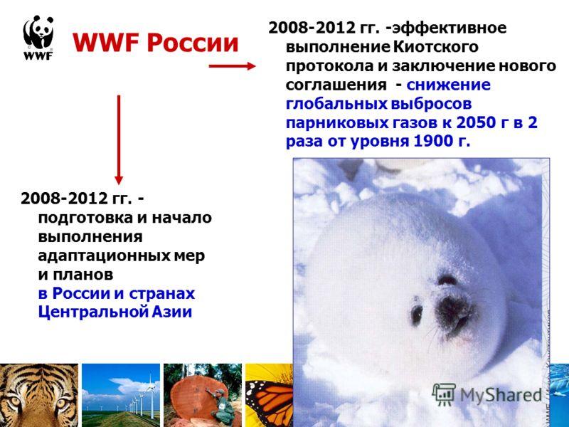 WWF России 2008-2012 гг. -эффективное выполнение Киотского протокола и заключение нового соглашения - снижение глобальных выбросов парниковых газов к 2050 г в 2 раза от уровня 1900 г. 2008-2012 гг. - подготовка и начало выполнения адаптационных мер и