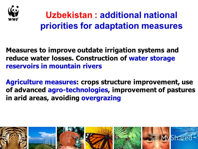 Measures to improve outdate irrigation systems and reduce water losses. Construction of water storage reservoirs in mountain rivers Agriculture measures: crops structure improvement, use of advanced agro-technologies, improvement of pastures in arid
