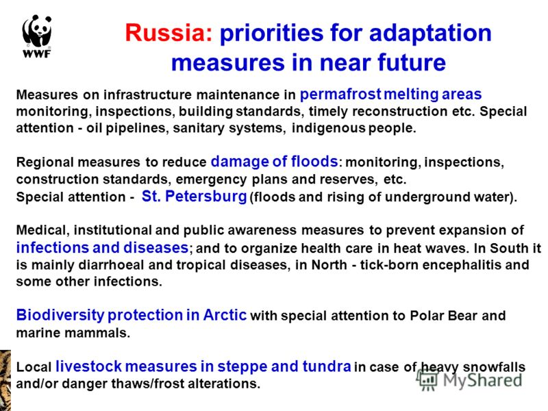 Russia: priorities for adaptation measures in near future Measures on infrastructure maintenance in permafrost melting areas monitoring, inspections, building standards, timely reconstruction etc. Special attention - oil pipelines, sanitary systems,