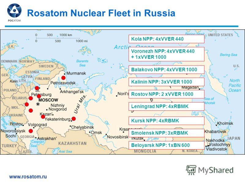 www.rosatom.ru Rosatom Nuclear Fleet in Russia Kola NPP: 4xVVER 440 Leningrad NPP: 4xRBMK Kalinin NPP: 3xVVER 1000 Smolensk NPP: 3xRBMK Kursk NPP: 4xRBMK Voronezh NPP: 4xVVER 440 + 1xVVER 1000 Balakovo NPP: 4xVVER 1000 Rostov NPP: 2 xVVER 1000 Beloya