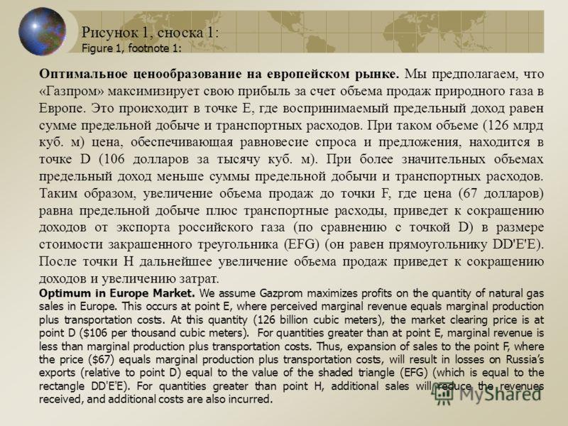 Оптимальное ценообразование на европейском рынке. Мы предполагаем, что «Газпром» максимизирует свою прибыль за счет объема продаж природного газа в Европе. Это происходит в точке Е, где воспринимаемый предельный доход равен сумме предельной добыче и