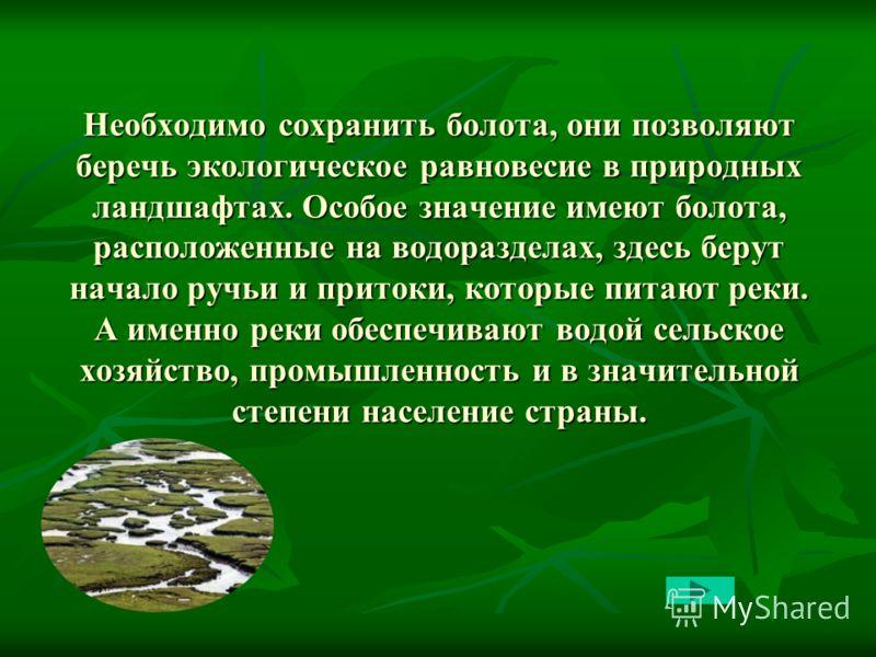 Необходимо сохранить болота, они позволяют беречь экологическое равновесие в природных ландшафтах. Особое значение имеют болота, расположенные на водоразделах, здесь берут начало ручьи и притоки, которые питают реки. А именно реки обеспечивают водой