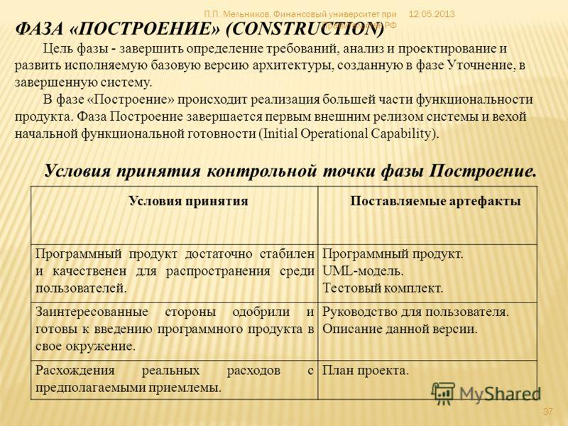 ФАЗА «ПОСТРОЕНИЕ» (CONSTRUCTION) Цель фазы - завершить определение требований, анализ и проектирование и развить исполняемую базовую версию архитектуры, созданную в фазе Уточнение, в завершенную систему. В фазе «Построение» происходит реализация боль