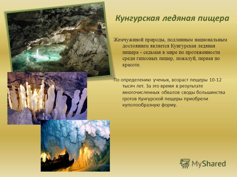 Жемчужиной природы, подлинным национальным достоянием является Кунгурская ледяная пещера - седьмая в мире по протяженности среди гипсовых пещер, пожалуй, первая по красоте. По определению ученых, возраст пещеры 10-12 тысяч лет. За это время в результ