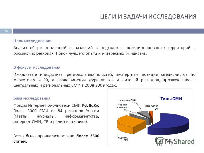 База исследования Фонды Интернет - библиотеки СМИ Public.Ru: более 3000 СМИ из 84 регионов России ( газеты, журналы, информагентства, интернет - СМИ, ТВ и радио - источники ). Всего было проанализировано более 3500 статей. Цель исследования Анализ об