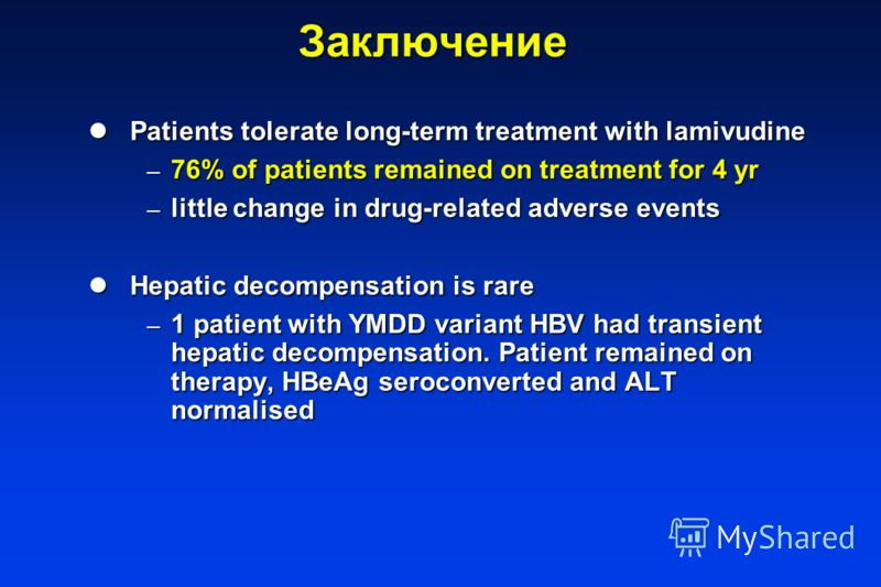 Заключение Patients tolerate long-term treatment with lamivudine Patients tolerate long-term treatment with lamivudine – 76% of patients remained on treatment for 4 yr – little change in drug-related adverse events Hepatic decompensation is rare Hepa