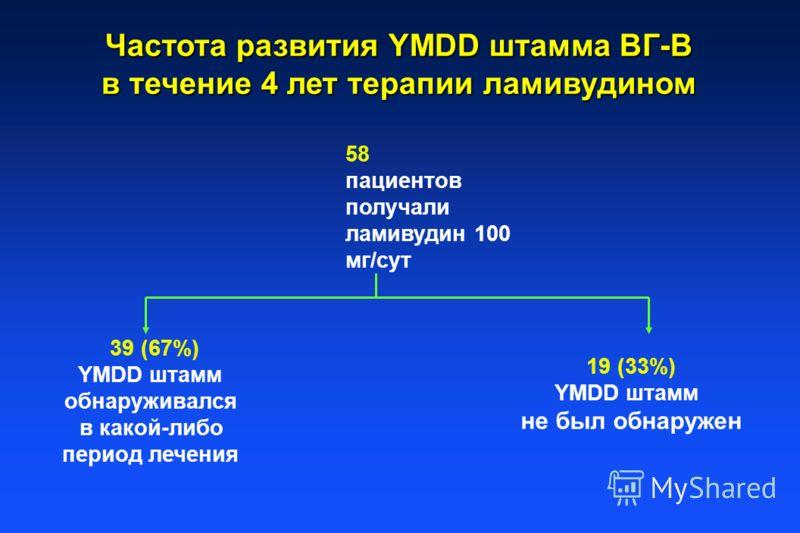 Частота развития YMDD штамма ВГ-В в течение 4 лет терапии ламивудином 58 пациентов получали ламивудин 100 мг/сут 39 (67%) YMDD штамм обнаруживался в какой-либо период лечения 19 (33%) YMDD штамм не был обнаружен