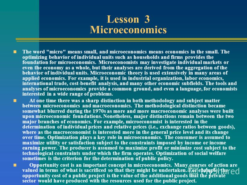 Lesson 3 Microeconomics The word