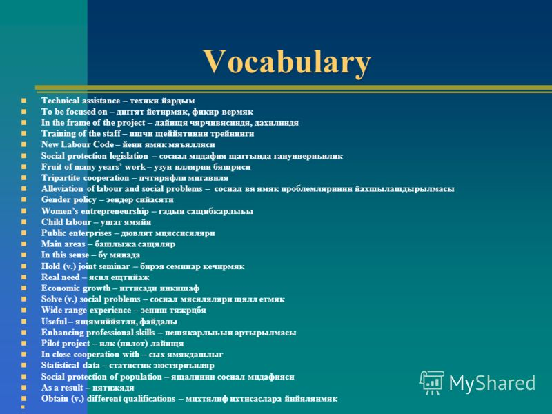 Vocabulary Technical assistance – технки йардым To be focused on – диггят йетирмяк, фикир вермяк In the frame of the project – лайищя чярчивясиндя, дахилиндя Training of the staff – ишчи щеййятинин трейнинги New Labour Code – йени ямяк мяъялляси Soci