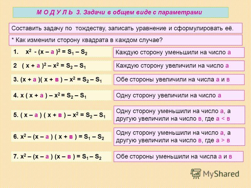 М О Д У Л Ь 3. Задачи в общем виде с параметрами Составить задачу по тождеству, записать уравнение и сформулировать её. 1. х 2 - (х – а ) 2 = S 1 – S 2 2 ( х + а ) 2 – х 2 = S 2 – S 1 * Как изменили сторону квадрата в каждом случае? 3. (х + а )( х +