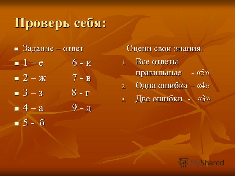 Проверь себя: Задание – ответ Задание – ответ 1 – е 6 - и 1 – е 6 - и 2 – ж 7 - в 2 – ж 7 - в 3 – з 8 - г 3 – з 8 - г 4 – а 9 - д 4 – а 9 - д 5 - б 5 - б Оцени свои знания: Оцени свои знания: 1. Все ответы правильные - «5» 2. Одна ошибка – «4» 3. Две