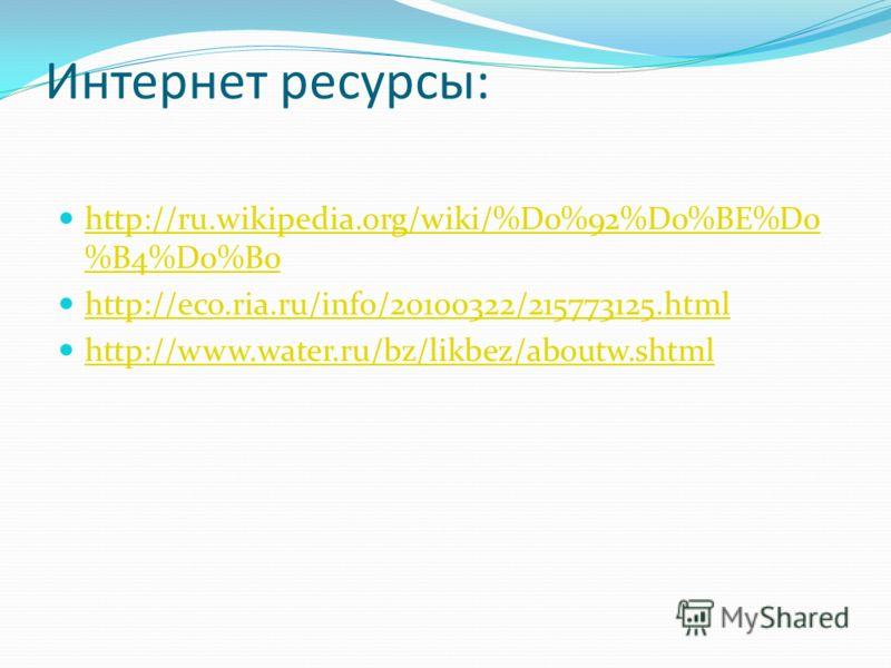 Интернет ресурсы: http://ru.wikipedia.org/wiki/%D0%92%D0%BE%D0 %B4%D0%B0 http://ru.wikipedia.org/wiki/%D0%92%D0%BE%D0 %B4%D0%B0 http://eco.ria.ru/info/20100322/215773125.html http://www.water.ru/bz/likbez/aboutw.shtml