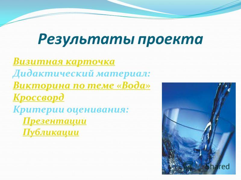 Результаты проекта Визитная карточка Дидактический материал: Викторина по теме «Вода» Кроссворд Критерии оценивания: Презентации Публикации