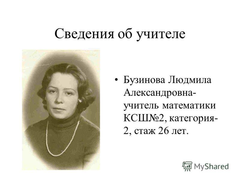 Сведения об учителе Бузинова Людмила Александровна- учитель математики КСШ2, категория- 2, стаж 26 лет.