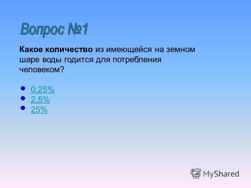 Какое количество из имеющейся на земном шаре воды годится для потребления человеком? 0,25% 2,5% 25%0,25%2,5%25%