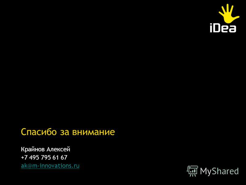 Крайнов Алексей +7 495 795 61 67 ak@m-innovations.ru Спасибо за внимание