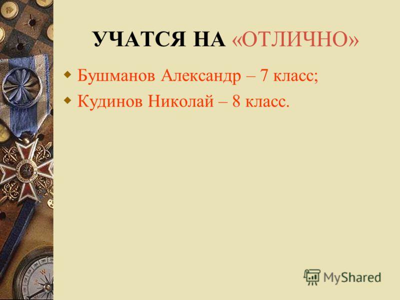 УЧАТСЯ НА «ОТЛИЧНО» Бушманов Александр – 7 класс; Кудинов Николай – 8 класс.