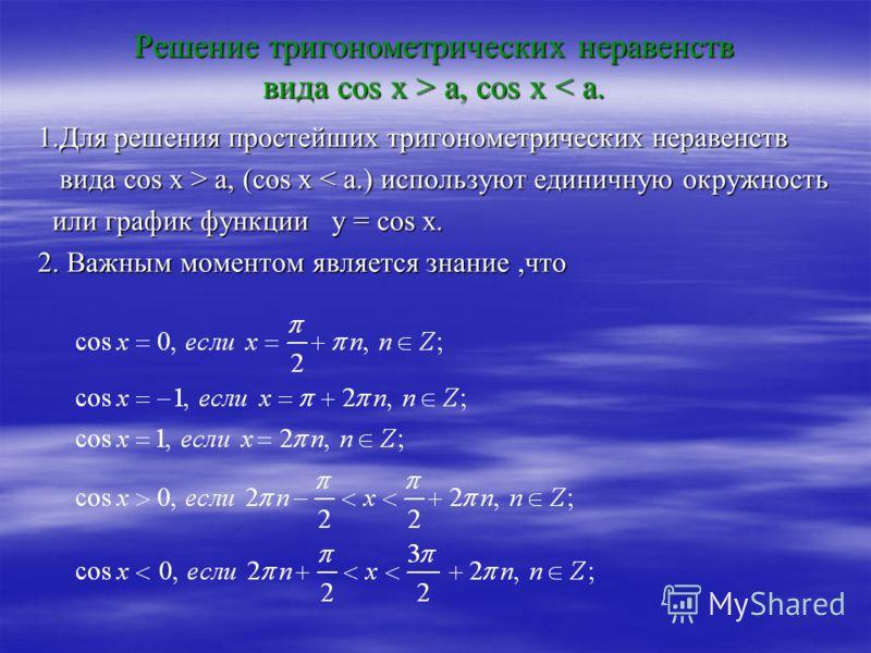 Решение тригонометрических неравенств вида сos x > a, cos x a, cos x < a. 1.Для решения простейших тригонометрических неравенств вида cos x > a, (cos x a, (cos x < a.) используют единичную окружность или график функции у = cos x. или график функции у